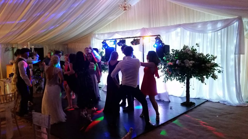 Mr and Mrs Renshaw Marquee Wedding. Star-lit wedding backdrop - High gate barns, Bettws - Happy Sounds Mobile Disco