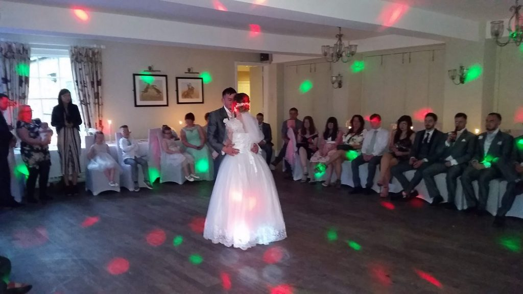 Beautiful wedding reception of Claire and Dan. First Dance - Mytton and Mermaid Shrewsbury - Happy Sounds Mobile Disco