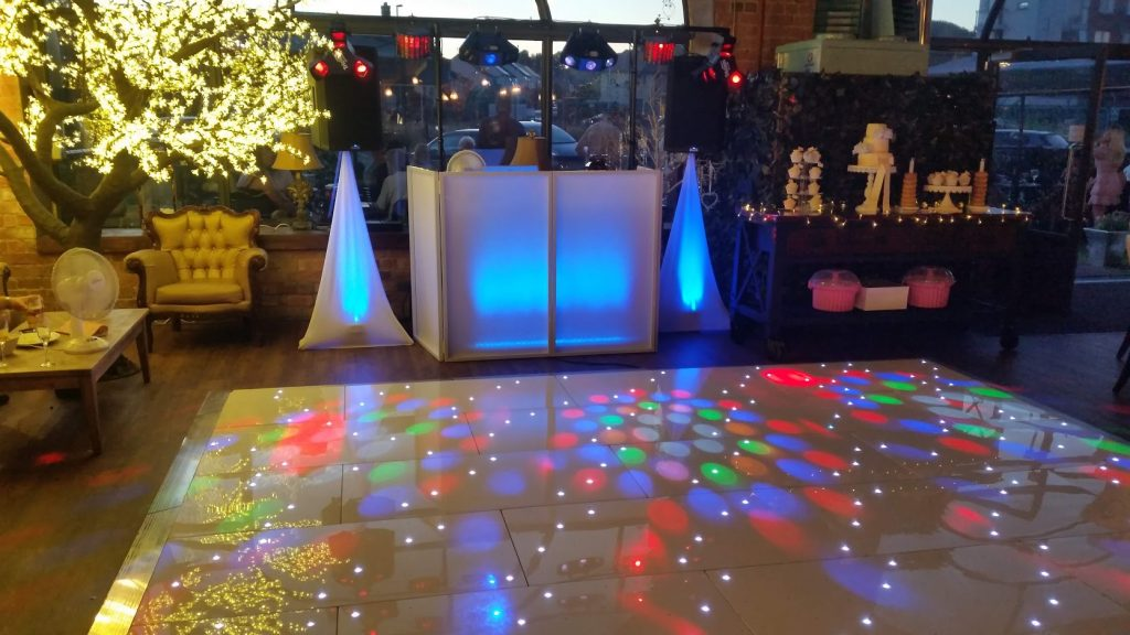 Blue Colour wash LED dance floor - Carriages Oswestry - Happy Sounds Mobile Disco