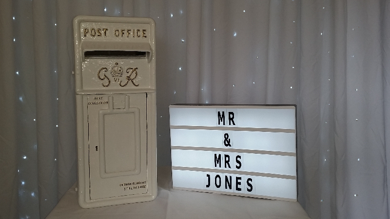 Regal Biance White Post Box Hire - Happy Sounds Mobile Disco