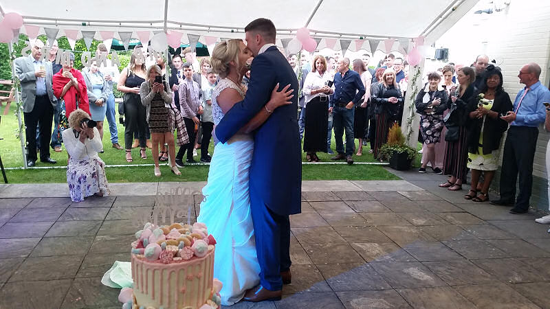 Wedding - First Dance - Pink Colour Wash - Marquee - Wagon and Horses Newtown - Happy Sounds Mobile Disco