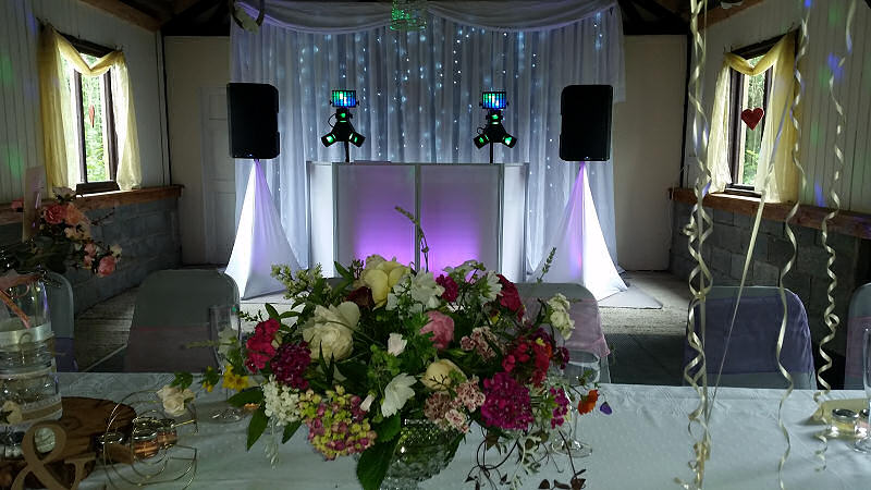 Wedding - Starlit Backdrop - Flowers - Barnutopia Weddings Oswestry - Happy Sounds Mobile Disco