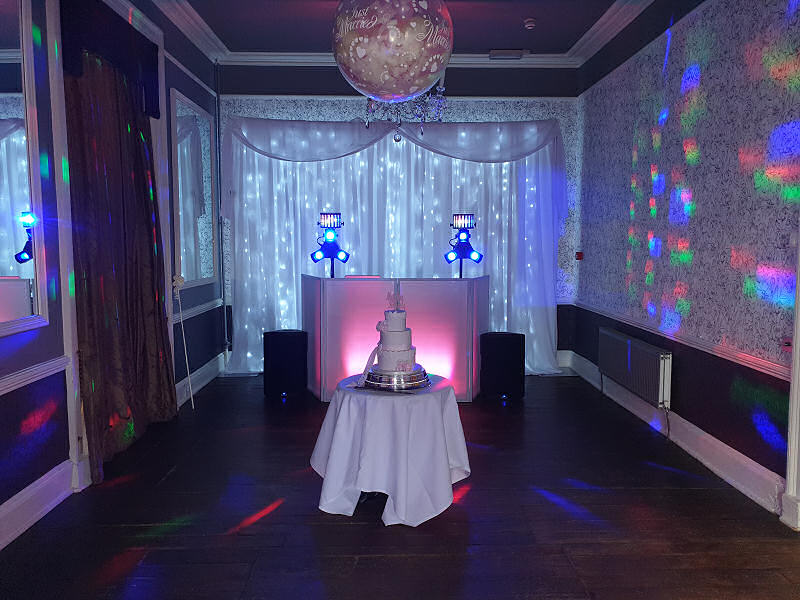 Wedding - Starlit Backdrop - Pink - Sweeney Hall Oswestry - Happy Sounds Mobile Disco