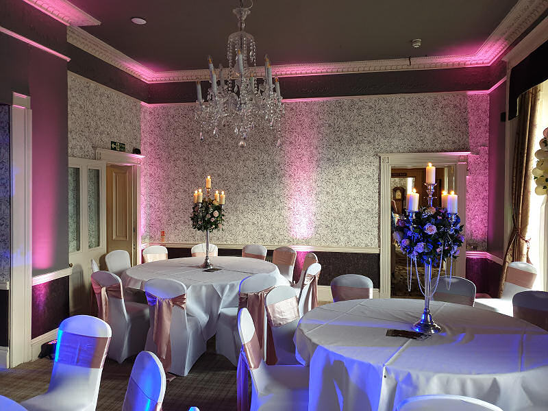 Pink Uplighting - Wedding - Sweeney Hall Oswestry - Happy Sounds Mobile Disco